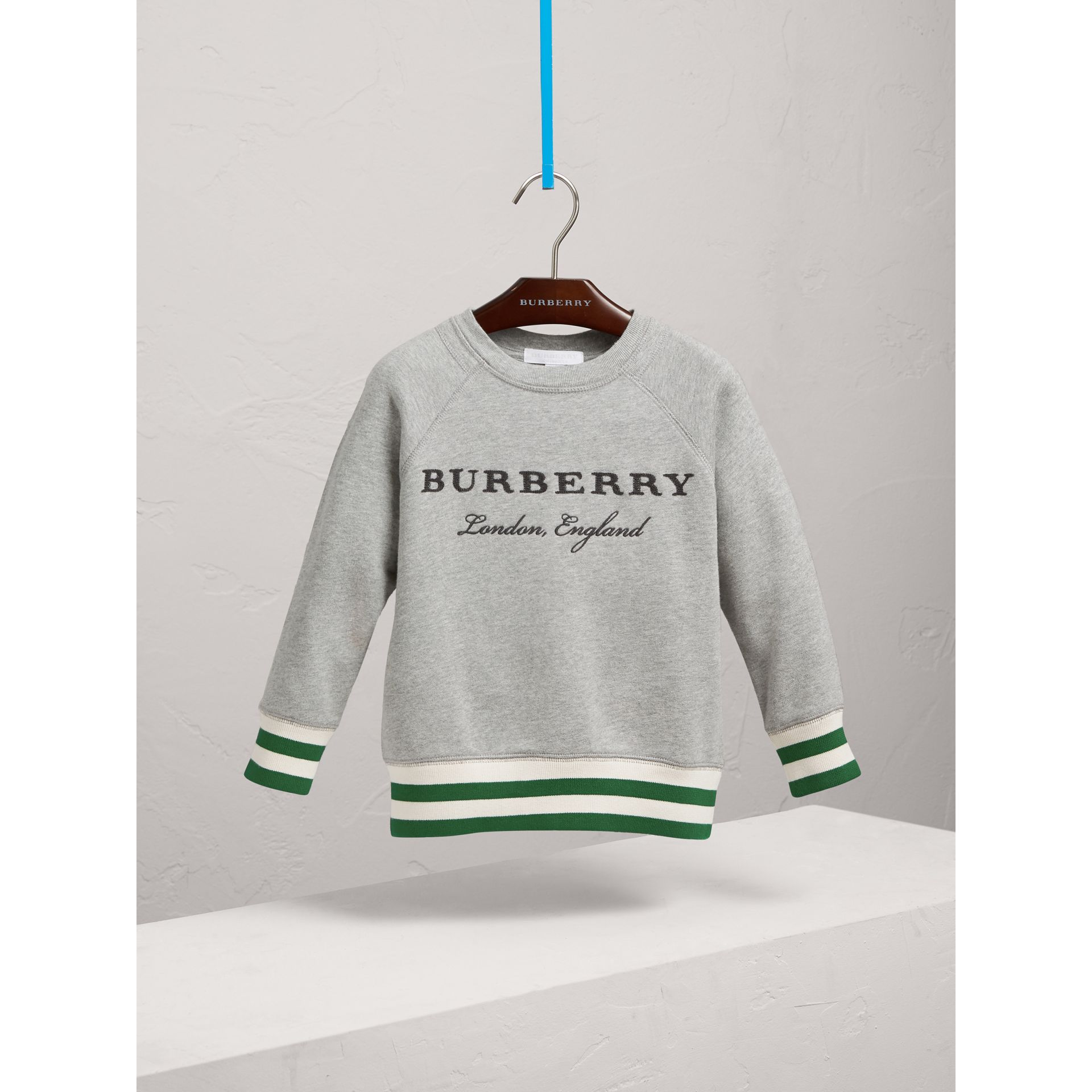 Contrast Stripe Cotton Jersey Sweatshirt in Grey Melange - Boy | Burberry United Kingdom - gallery image 3