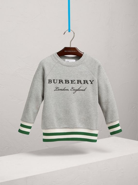 Contrast Stripe Cotton Jersey Sweatshirt in Grey Melange - Boy | Burberry Australia - cell image 2