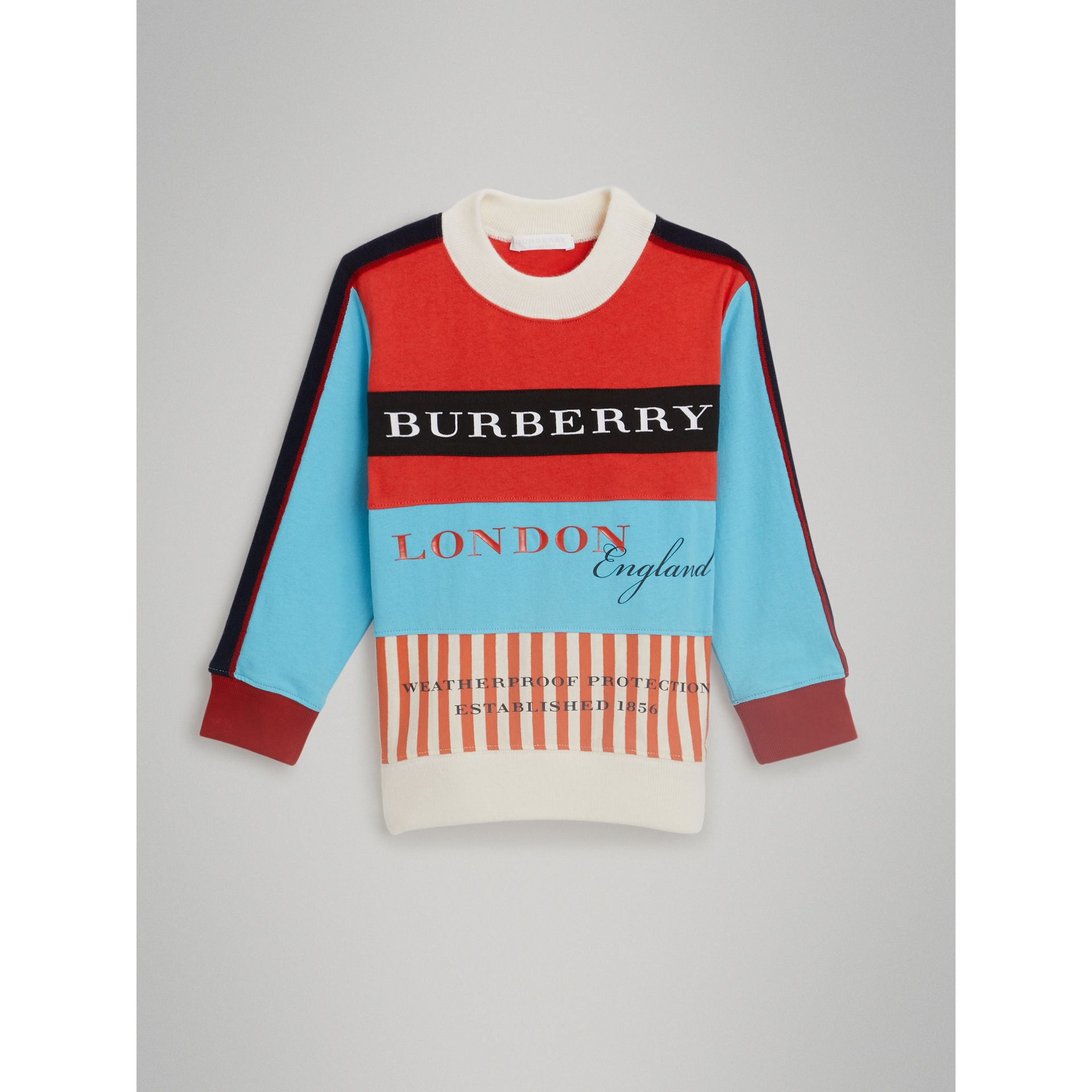 Logo Print Panelled Cotton Sweatshirt in Bright Red | Burberry - gallery image 0