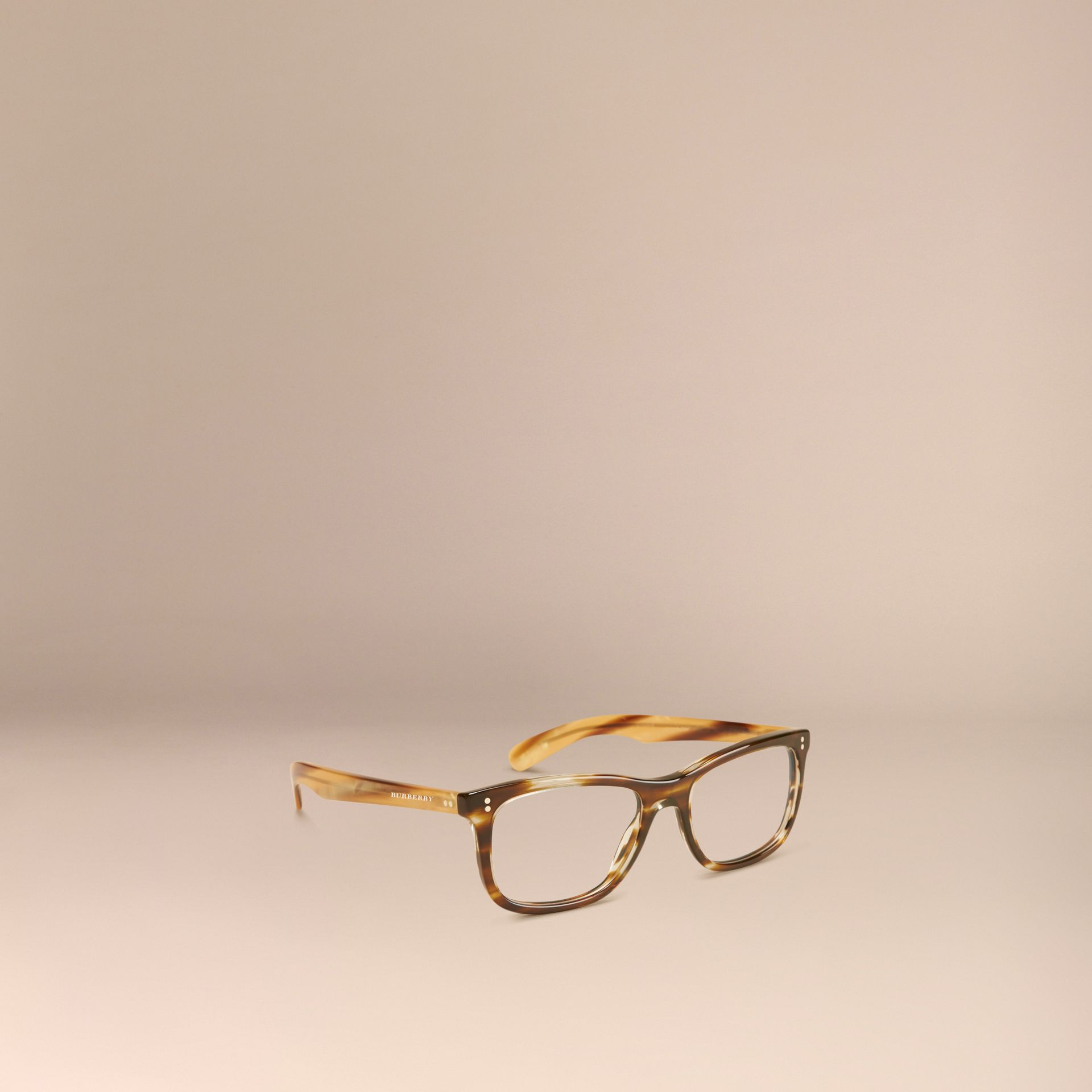 Square Optical Frames Dark Brown Horn - gallery image 1