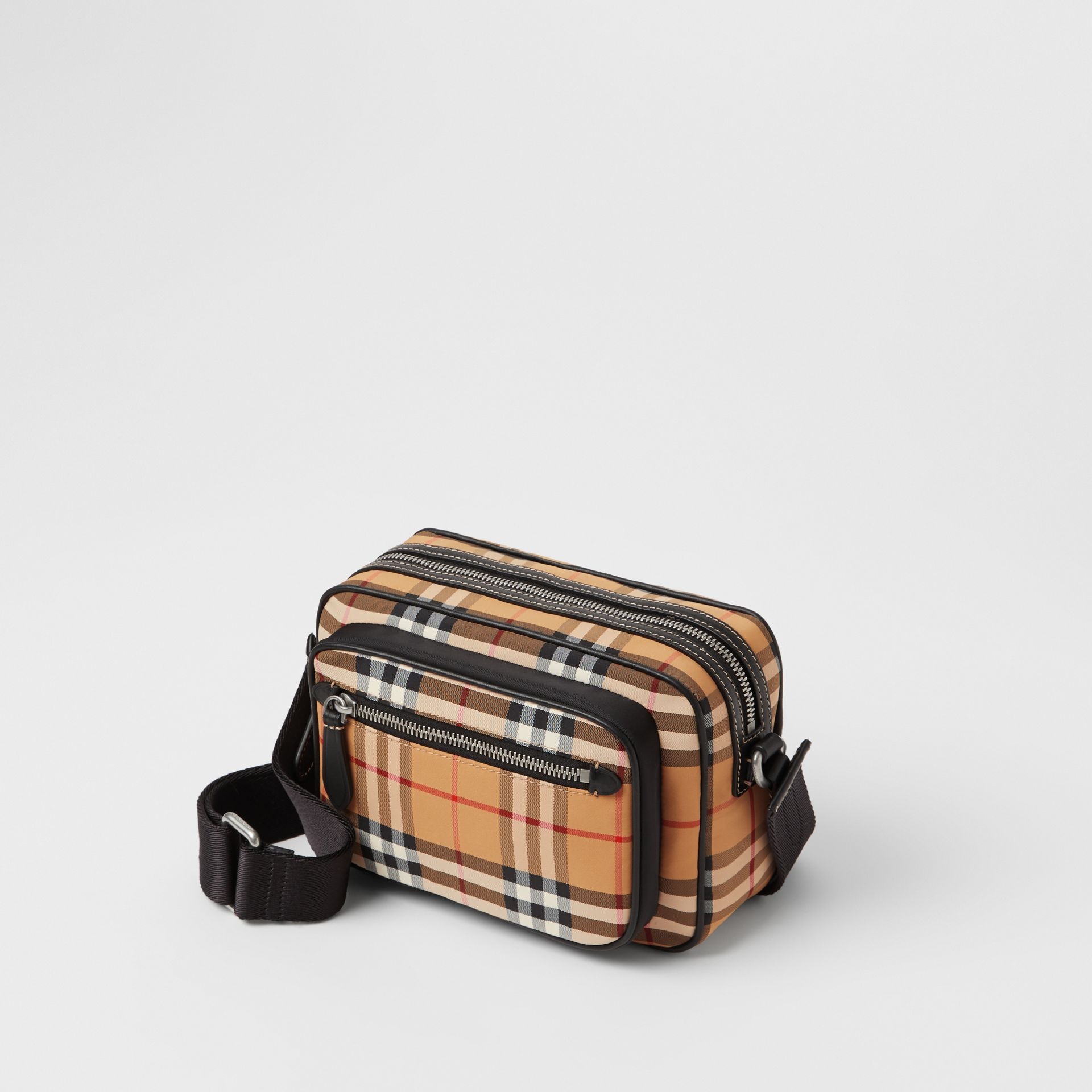 Vintage Check and Leather Crossbody Bag in Antique Yellow - Men | Burberry Singapore - gallery image 4