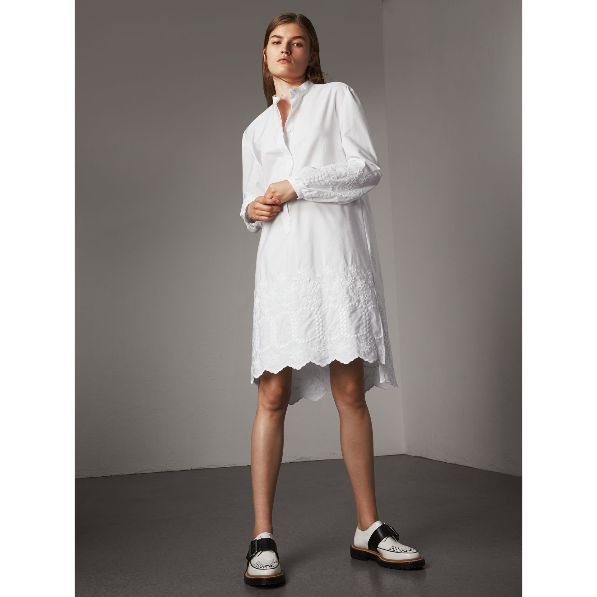 Embroidered Cotton Poplin Shirt Dress in White - Women | Burberry - gallery image 0