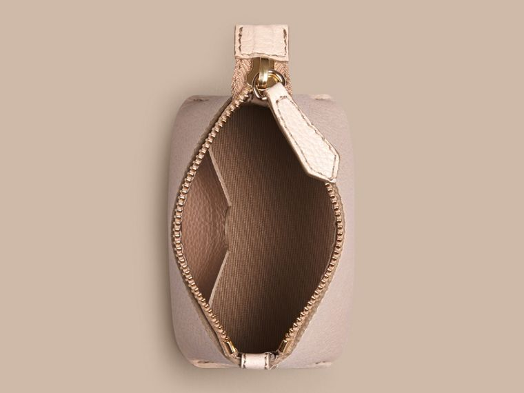 Grainy Leather Lipstick Case in Stone - Women | Burberry - cell image 1