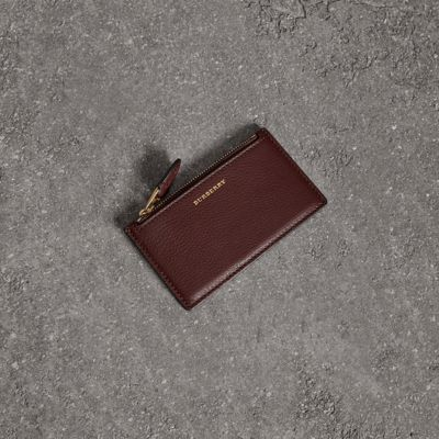 Two Tone Leather Zip Card Case by Burberry