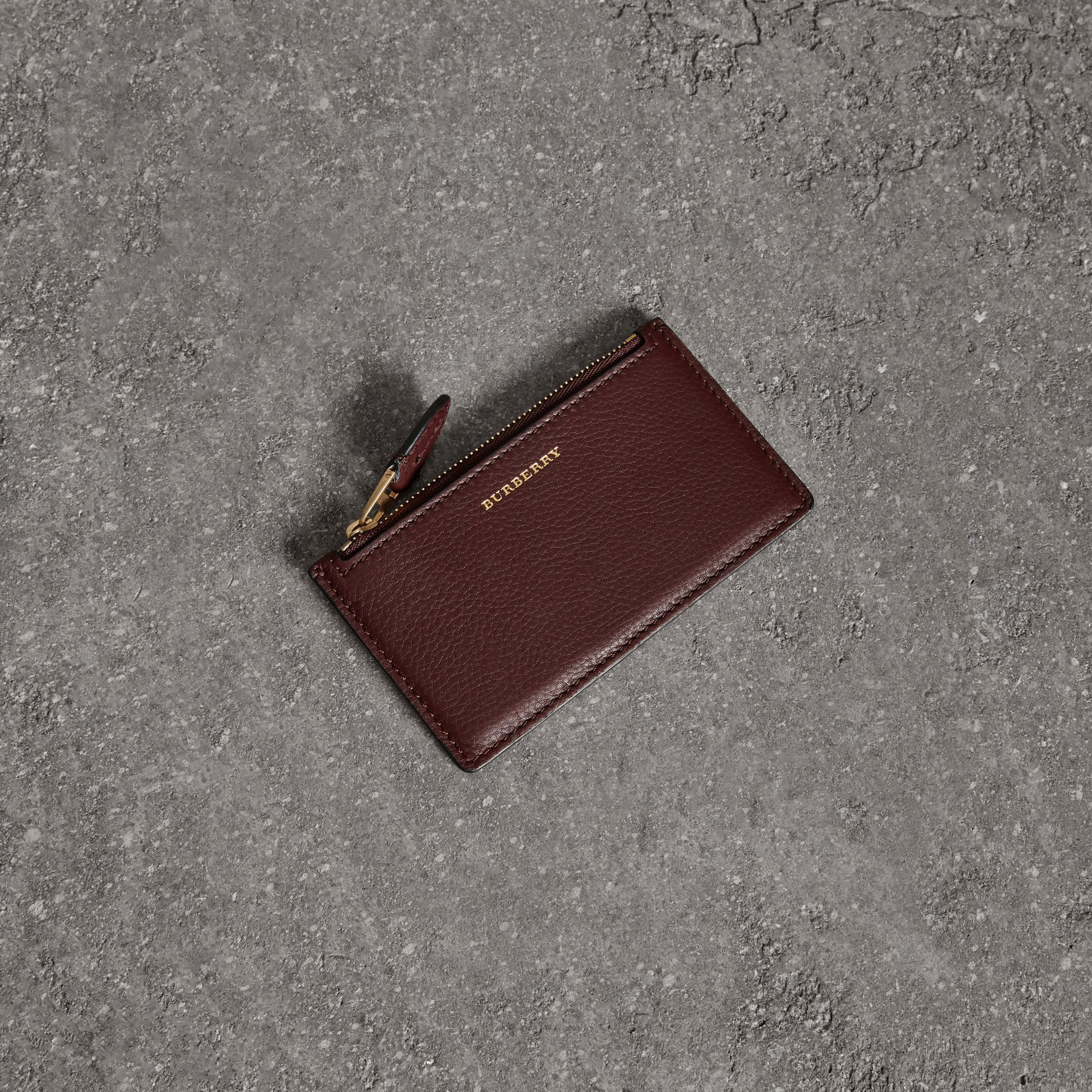 Two-tone Leather Zip Card Case in Deep Claret | Burberry - gallery image 0
