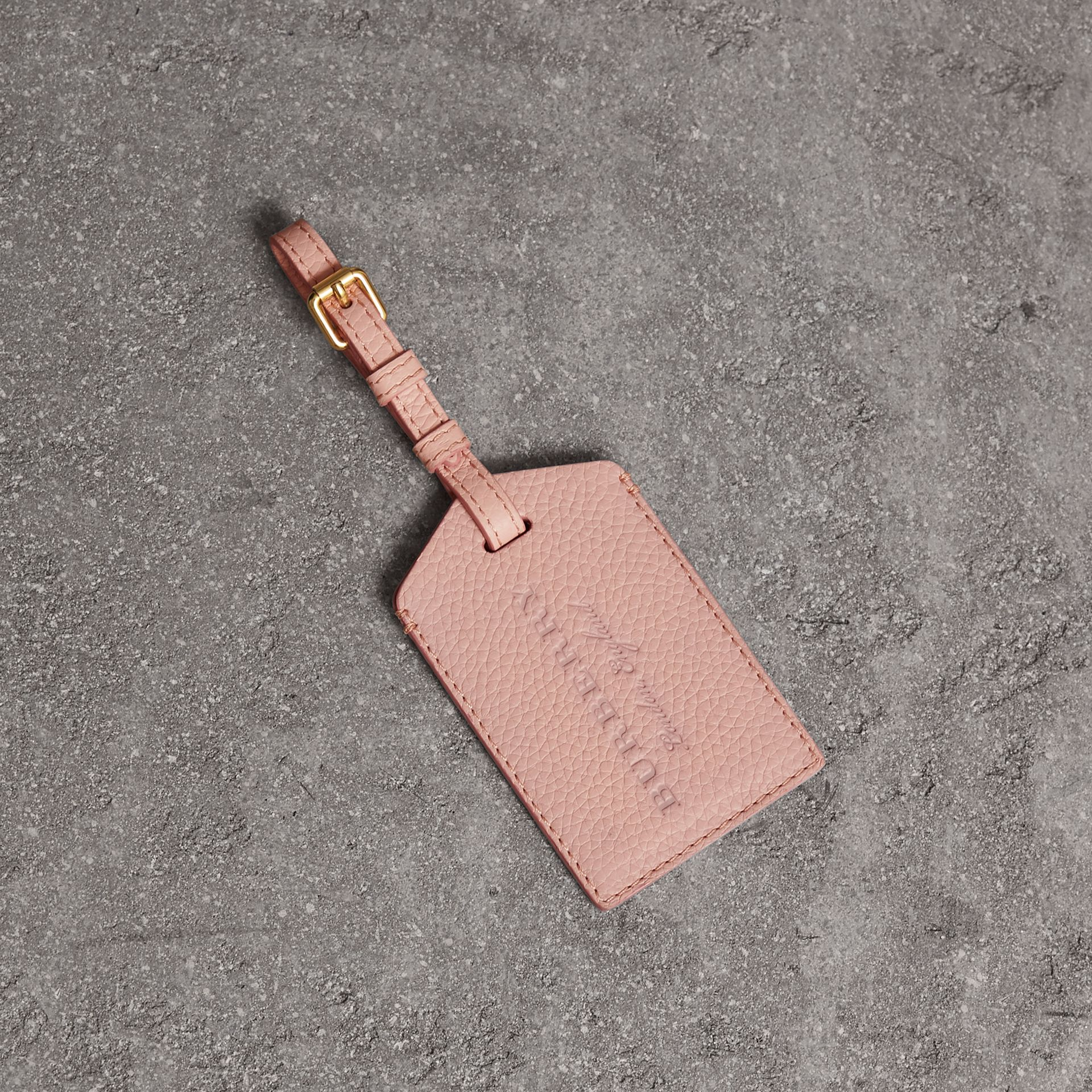 Grainy Leather Luggage Tag in Pale Ash Rose | Burberry United States - gallery image 0