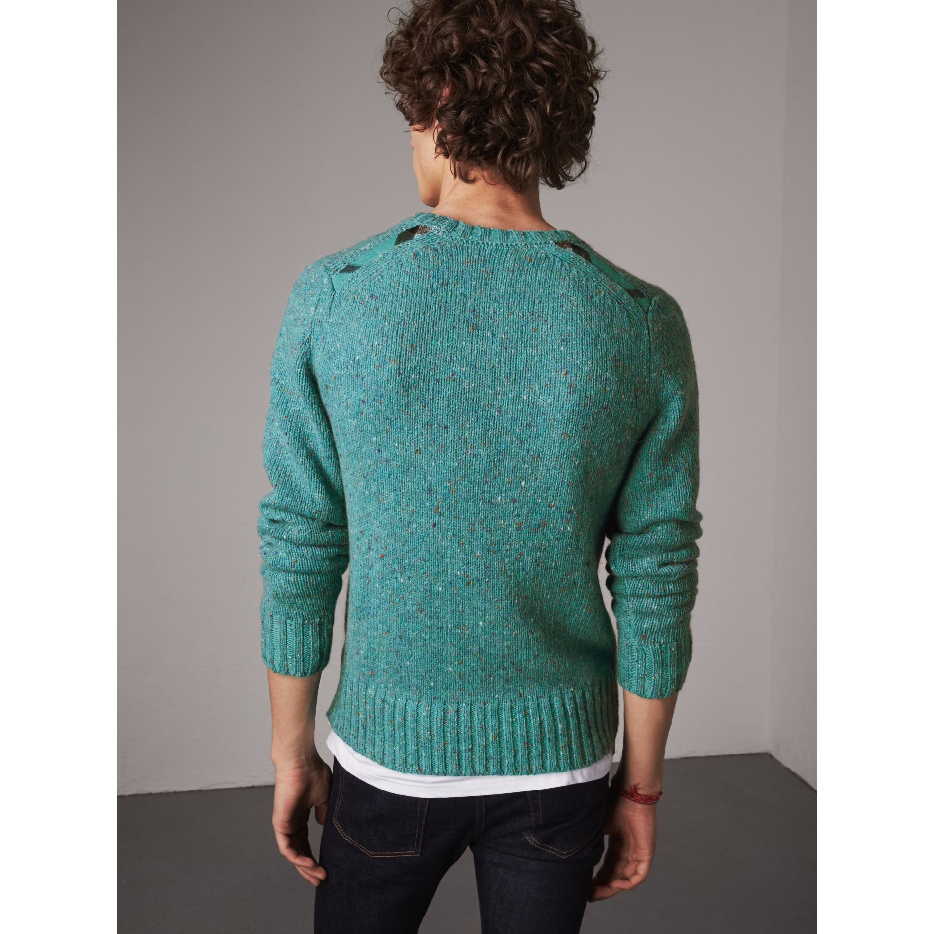 Wool Cashmere Mohair Tweed Sweater in Bright Cyan Green - Men | Burberry - gallery image 3