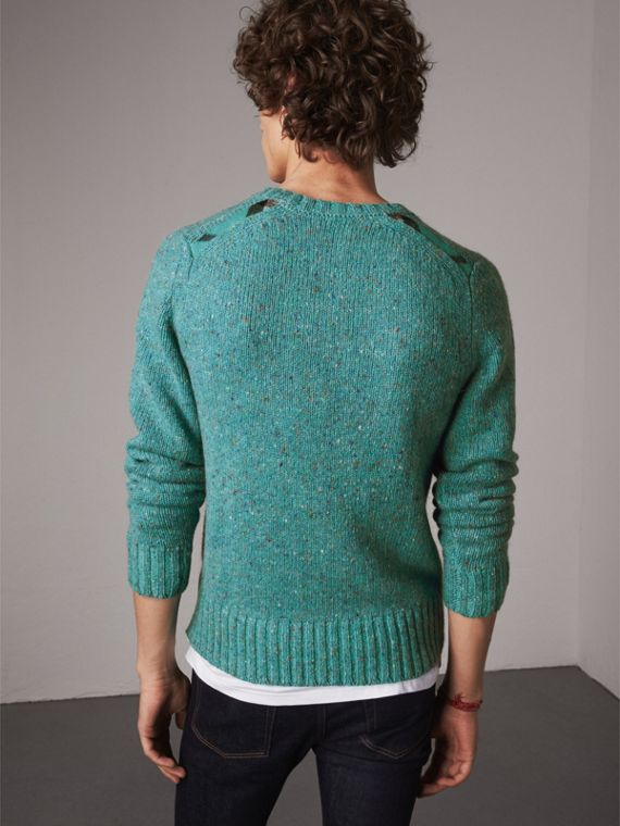 Wool Cashmere Mohair Tweed Sweater in Bright Cyan Green - Men | Burberry - cell image 2