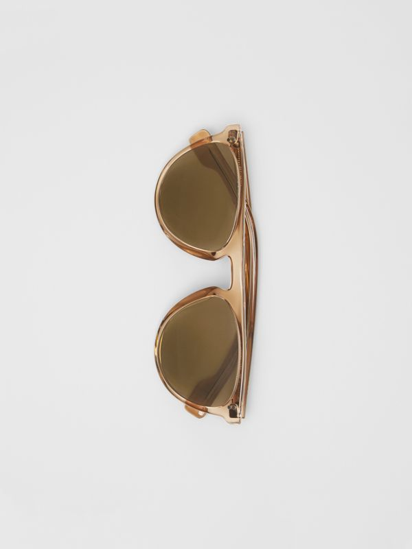 Keyhole D-shaped Sunglasses in Brown - Men | Burberry - cell image 3