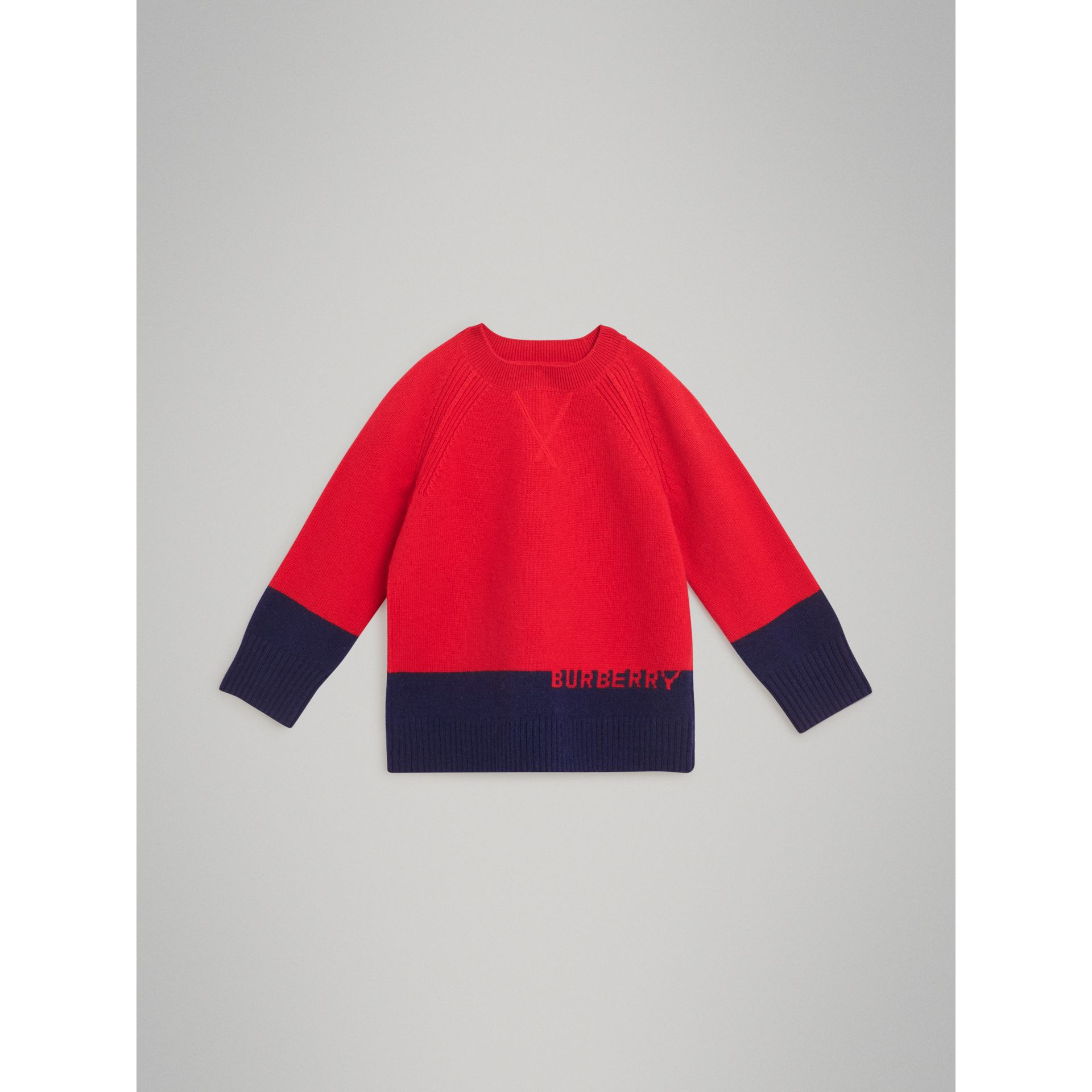 Logo Intarsia Cashmere Sweater in Bright Red | Burberry Canada - gallery image 0