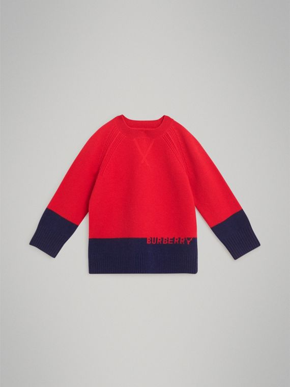 Logo Intarsia Cashmere Sweater in Bright Red