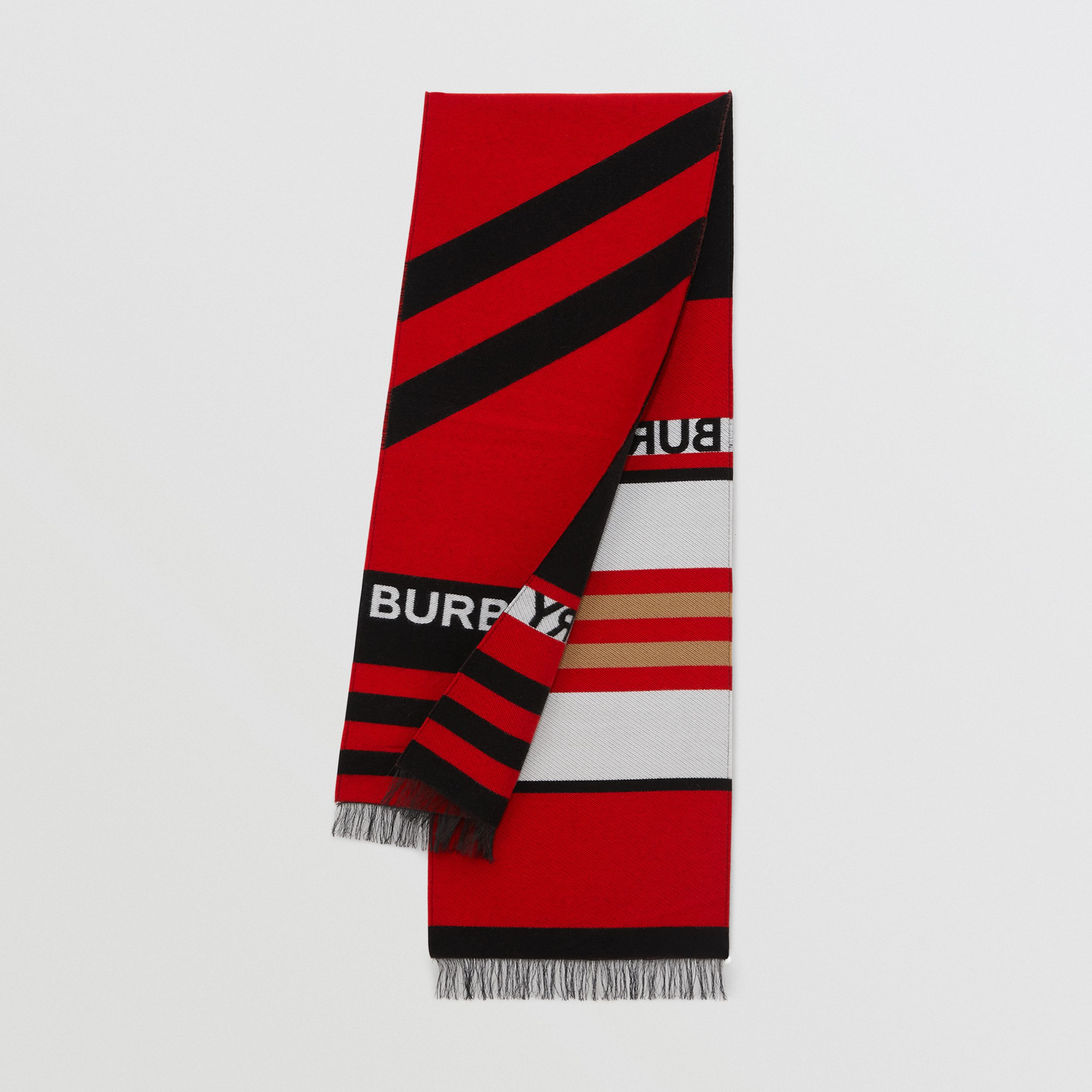 Logo and Icon Stripe Wool Cotton Jacquard Scarf in Bright Red - Children | Burberry Hong Kong S.A.R. - 1