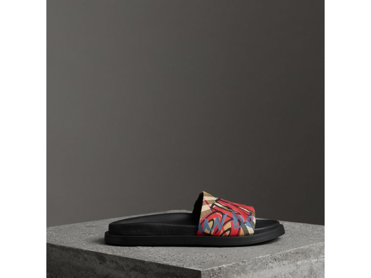 Graffiti Print Vintage Check and Leather Slides in Antique Yellow - Women | Burberry - cell image 4