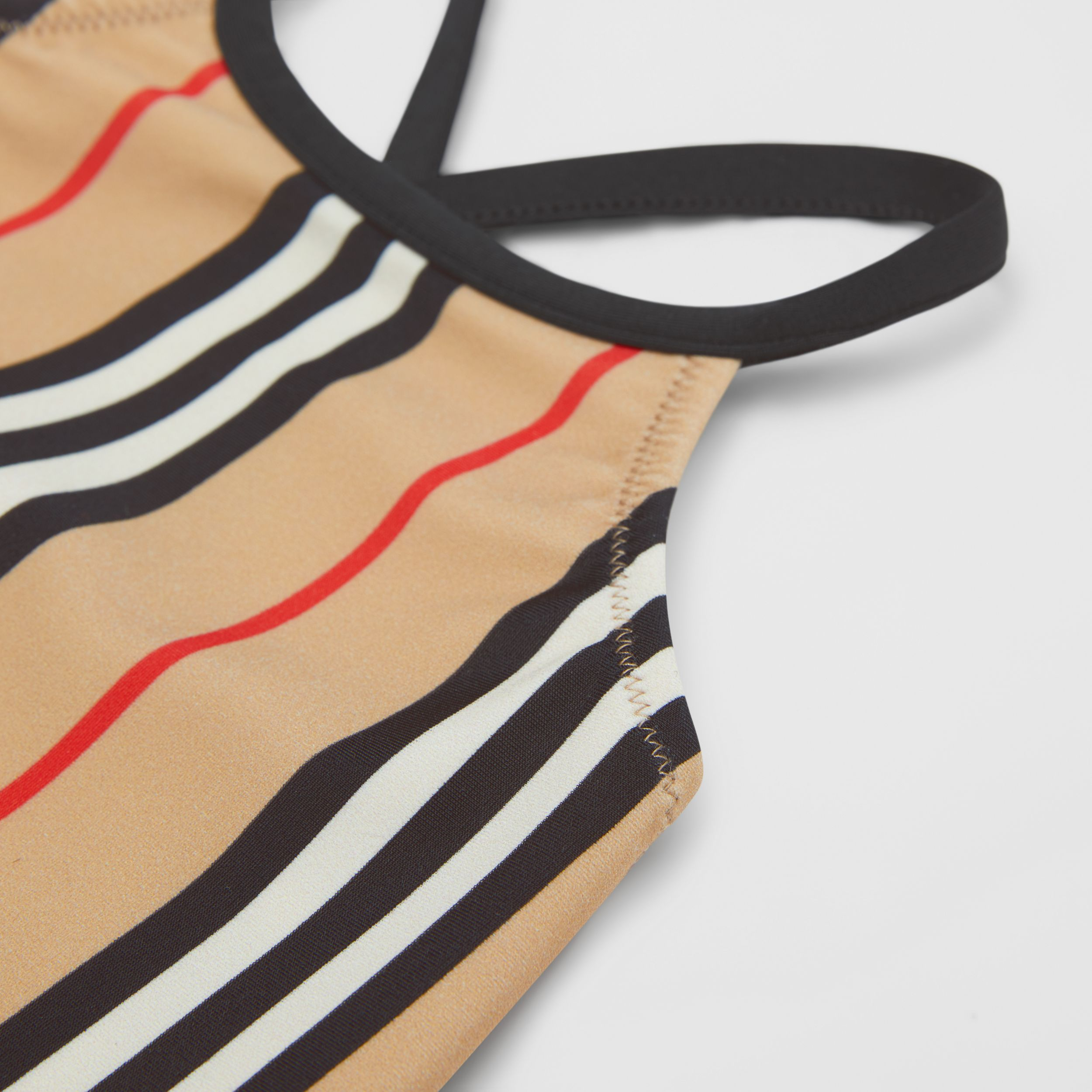 Icon Stripe Swimsuit in Archive Beige - Children | Burberry - 2