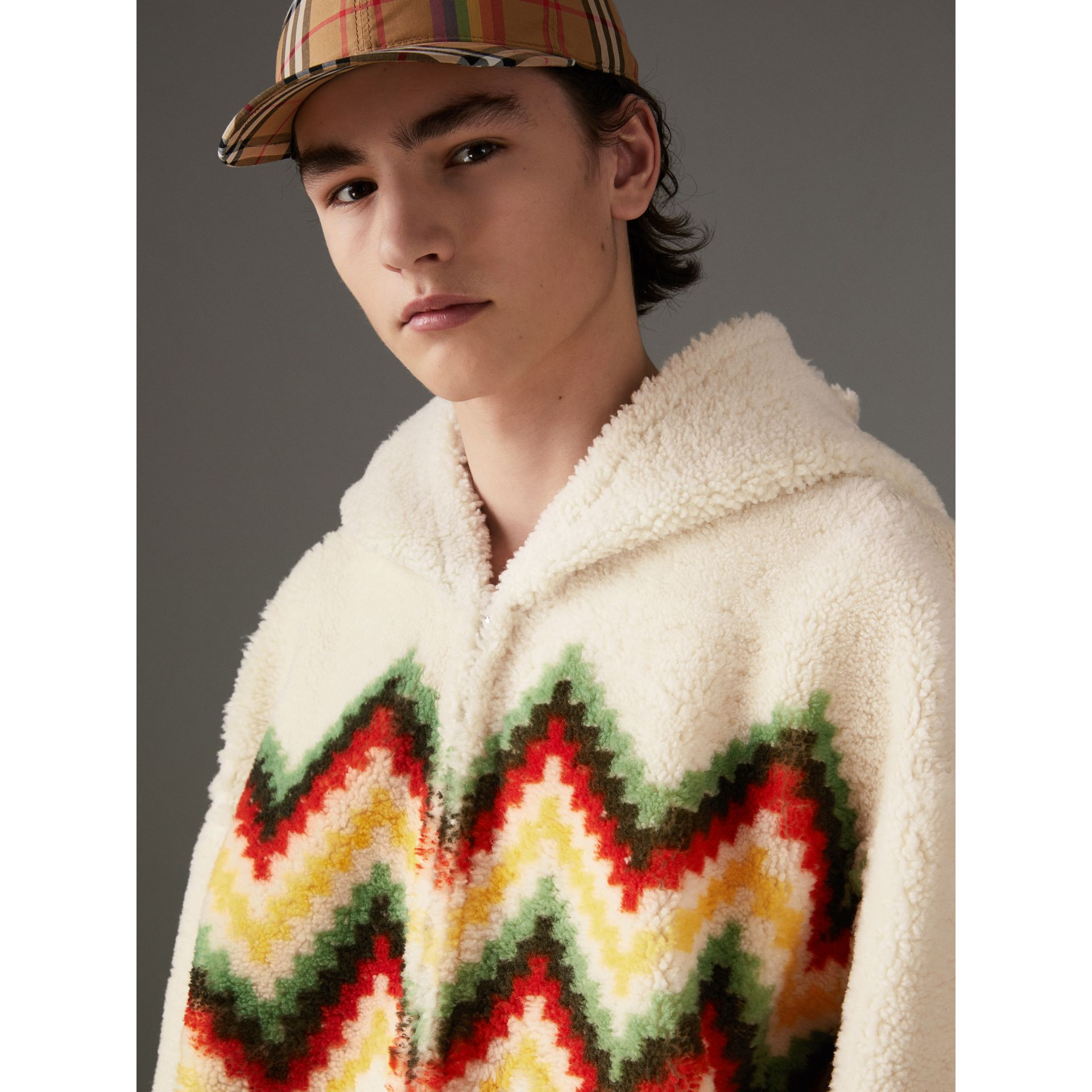 Chevron Intarsia Shearling Hoodie in Off White | Burberry - gallery image 1
