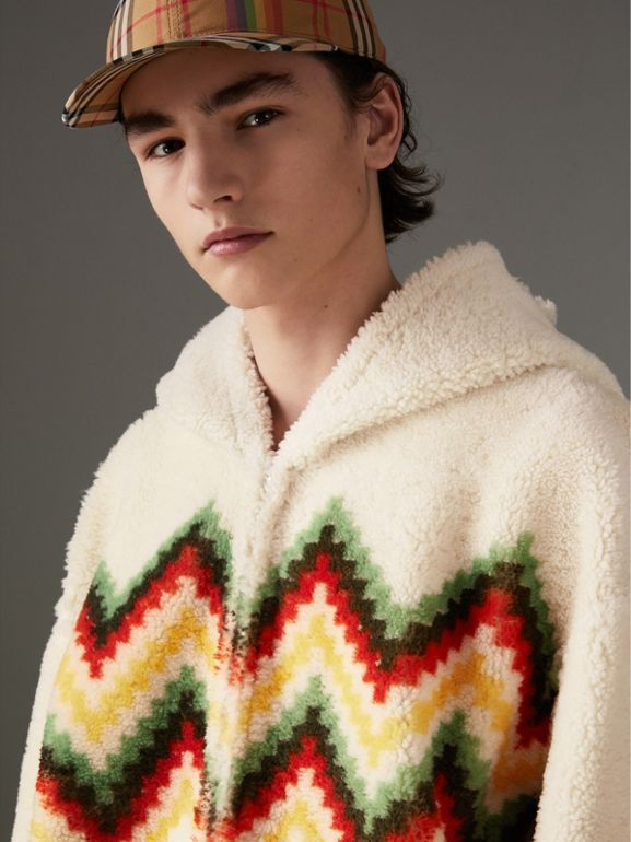 Chevron Intarsia Shearling Hoodie in Off White | Burberry - cell image 1