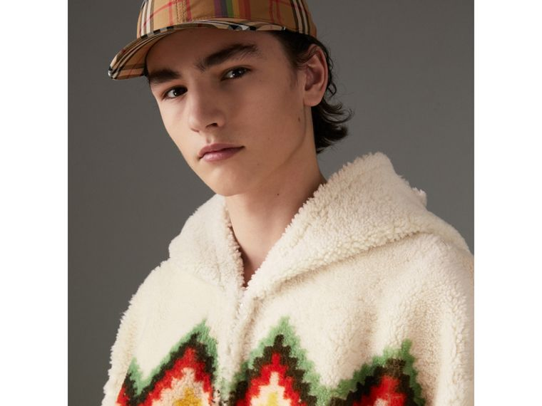 Chevron Intarsia Shearling Hoodie in Off White | Burberry Canada - cell image 1