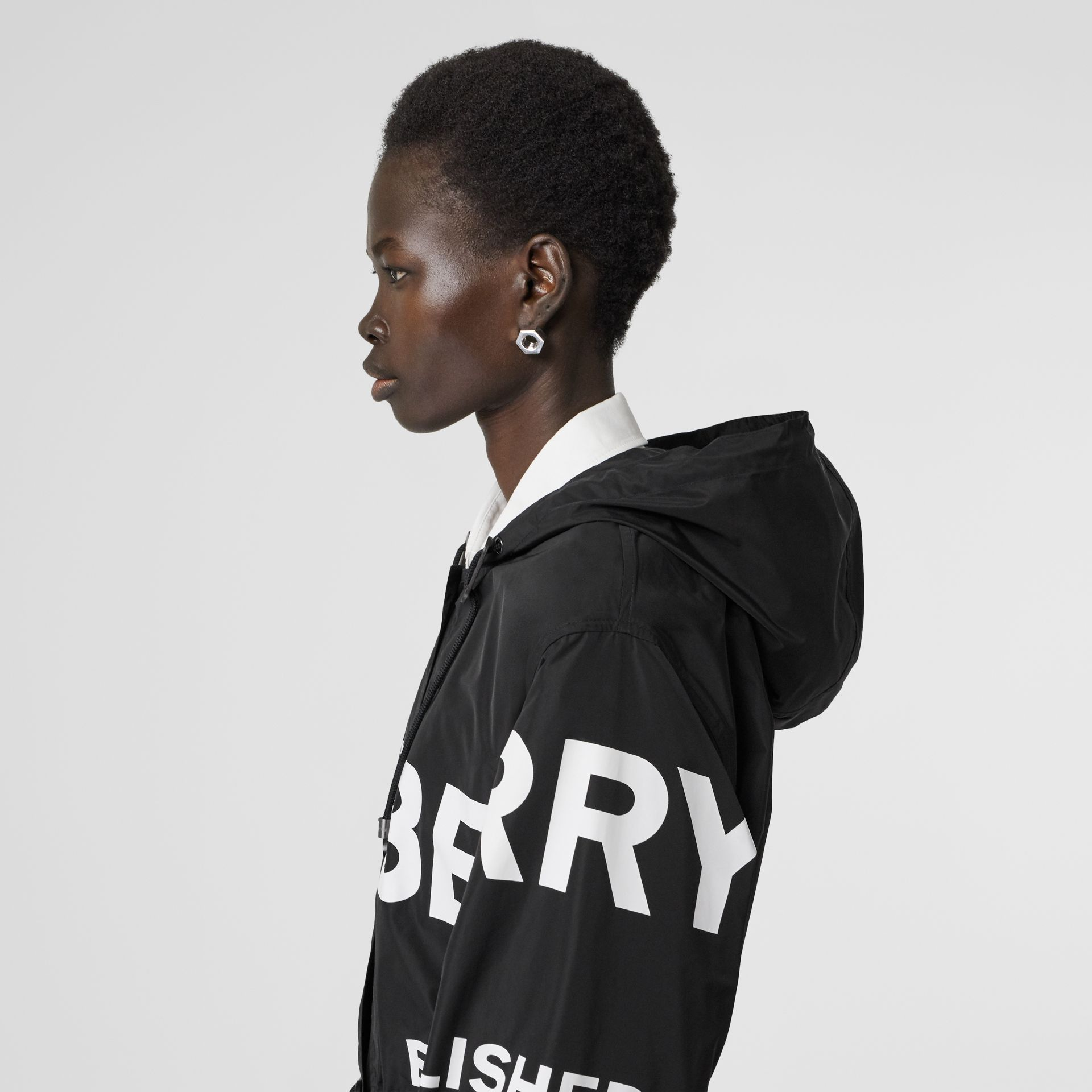 Horseferry Print Nylon Parka in Black - Women | Burberry - gallery image 1