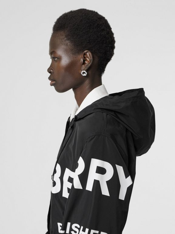 Horseferry Print Nylon Parka in Black - Women | Burberry - cell image 1