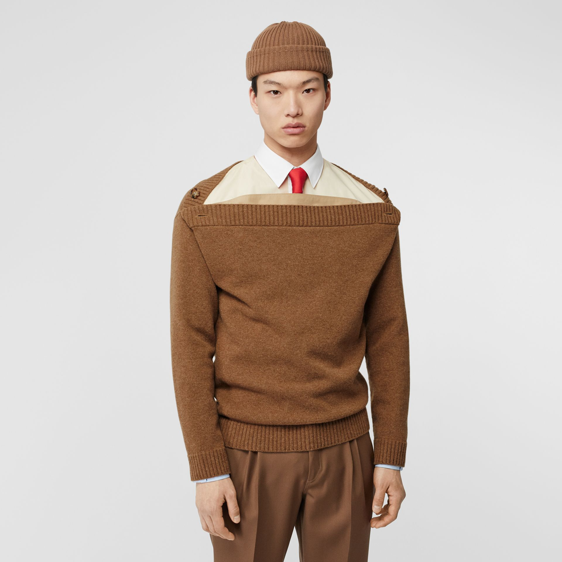 Boat Neck Wool Sweater in Dark Walnut - Men | Burberry - gallery image 4