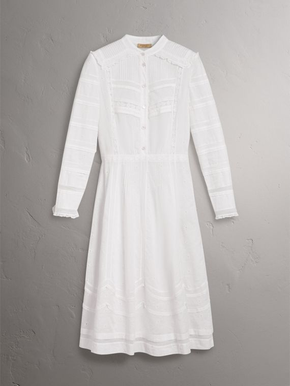English Lace Detail Cotton Voile Shirt Dress in Off White - Women | Burberry United Kingdom - cell image 3