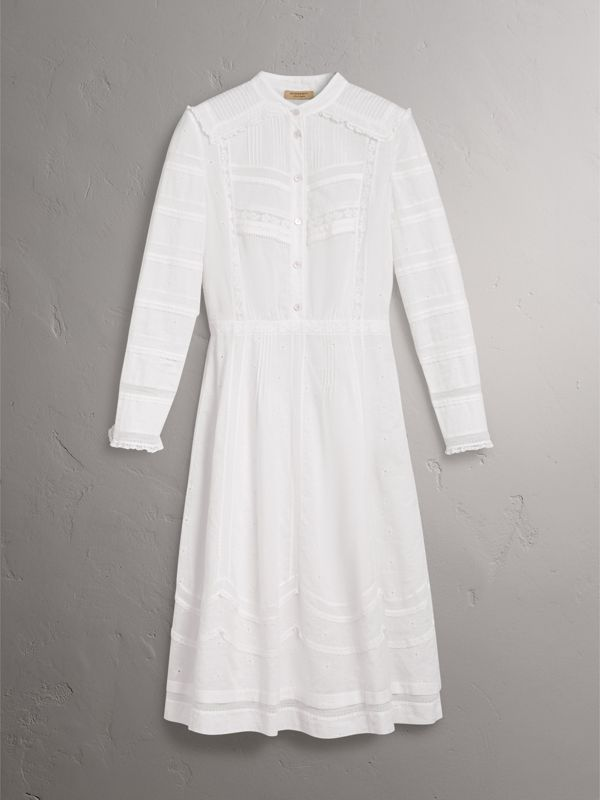 English Lace Detail Cotton Voile Shirt Dress in Off White | Burberry - cell image 3