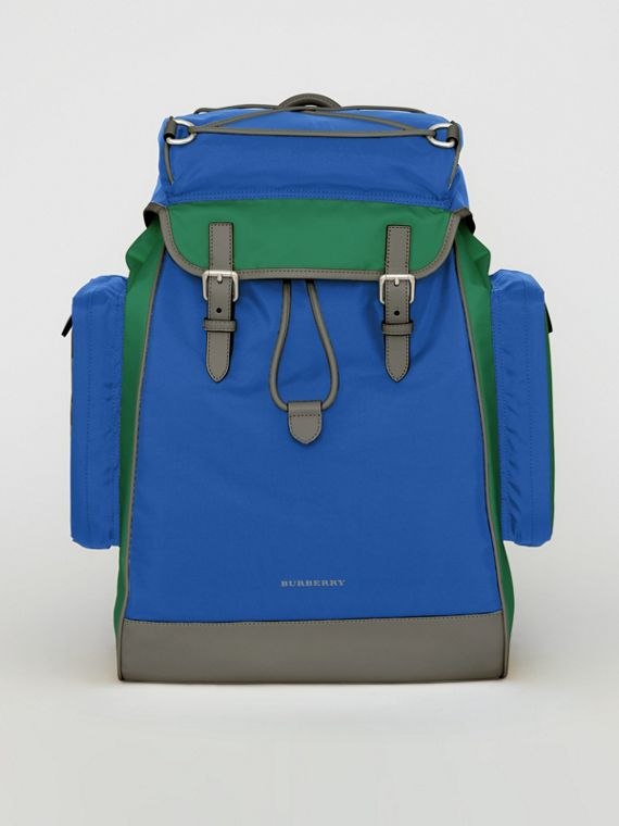 Tri-tone Nylon and Leather Backpack in Dark Canvas Blue