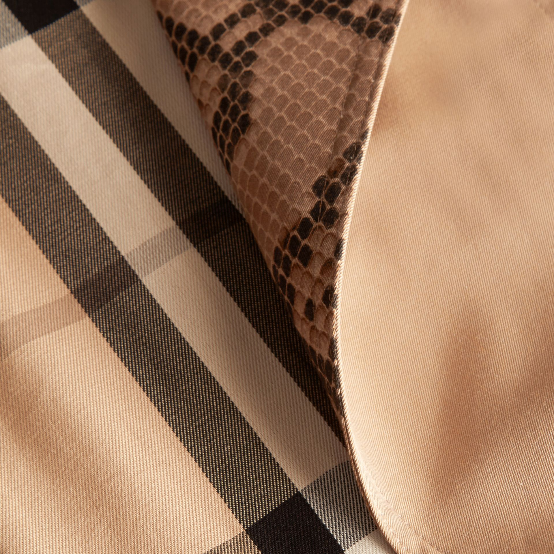 Honey Python Print Detail Cotton Gabardine Trench Coat - gallery image 2