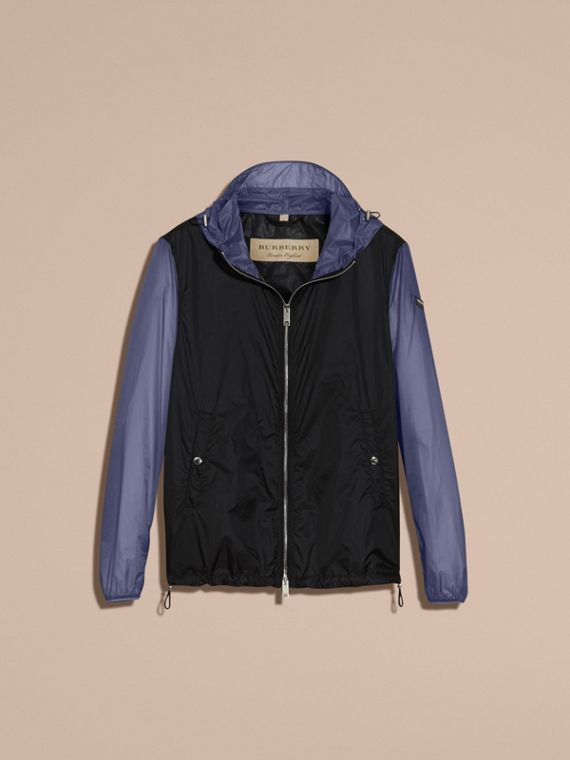 Dark navy Ultra-lightweight Two-tone Jacket with Hood - cell image 3