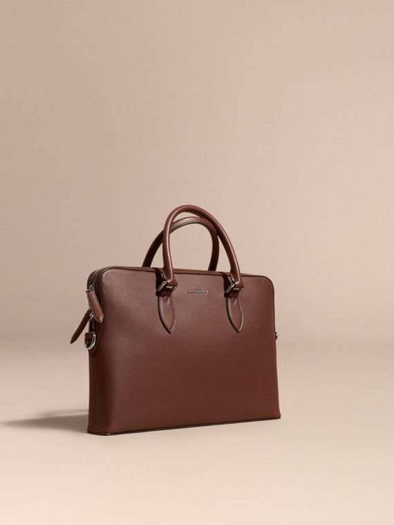 Sac The Barrow fin en cuir lisse Blanc/marron Sepia