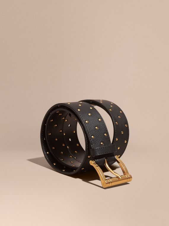 Riveted Grainy Leather Belt