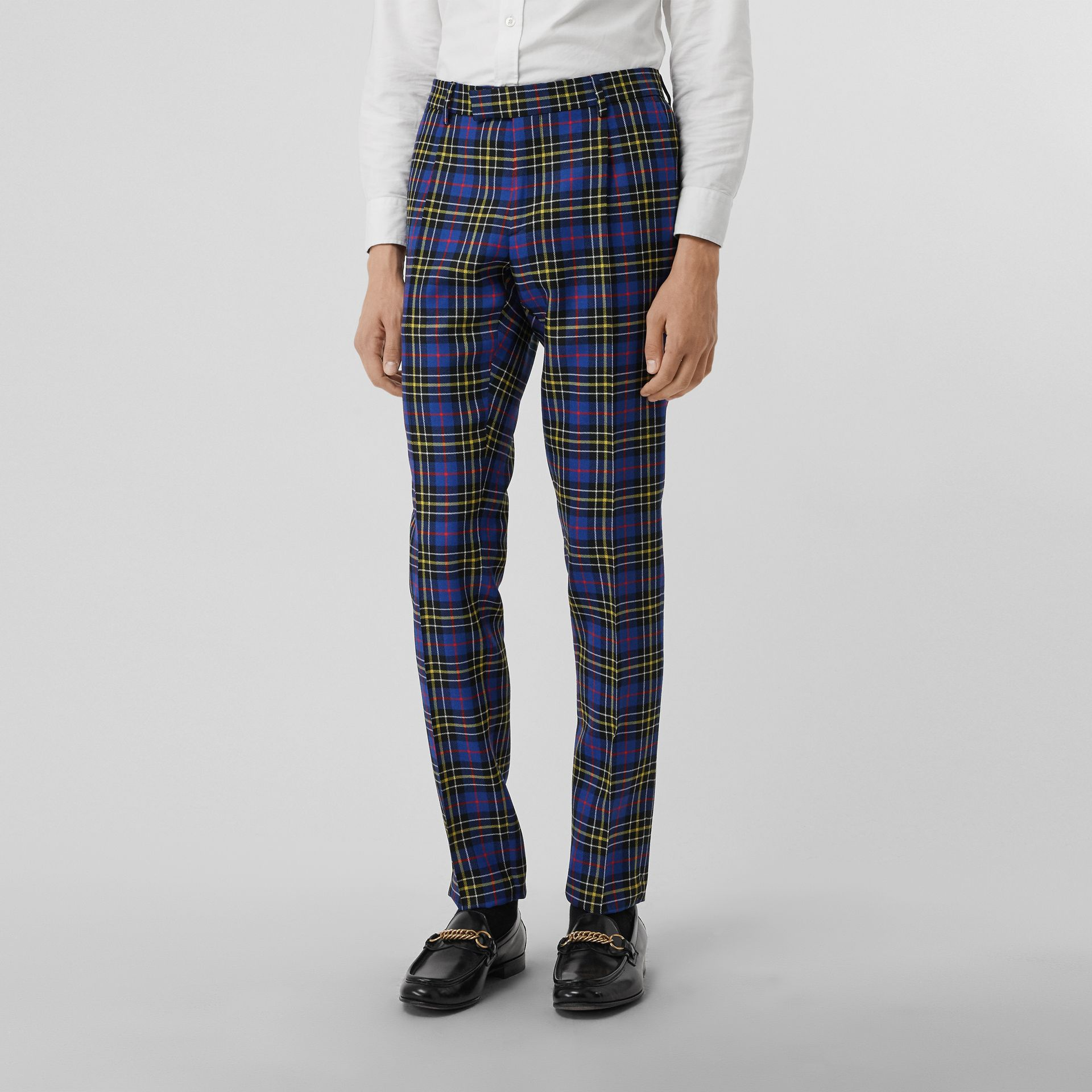 Soho Fit Tartan Wool Tailored Trousers in Sapphire Blue - Men | Burberry - gallery image 3