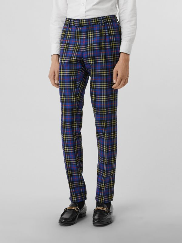 Soho Fit Tartan Wool Tailored Trousers in Sapphire Blue - Men | Burberry - cell image 3