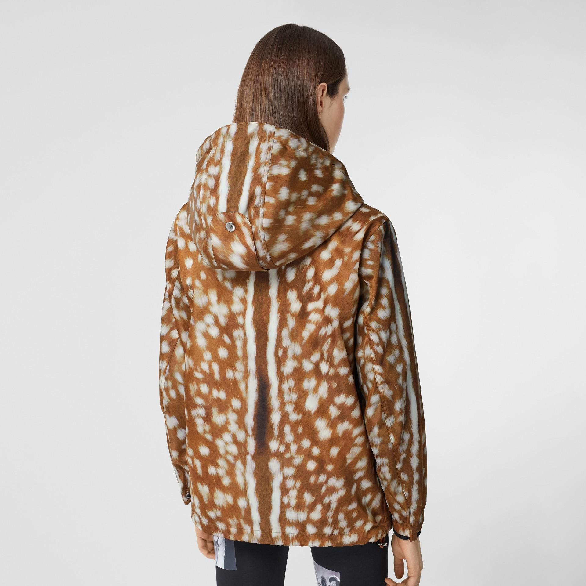 Deer Print ECONYL® Hooded Jacket in Honey - Women | Burberry - gallery image 2