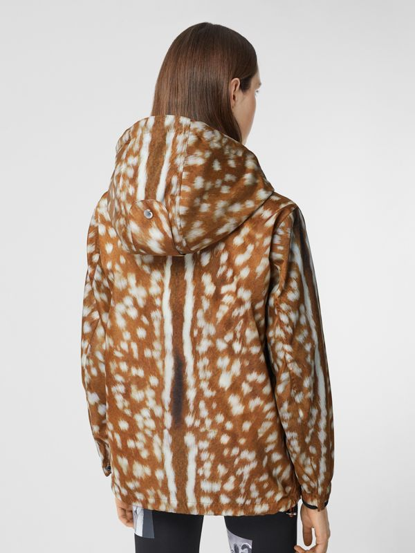 Deer Print ECONYL® Hooded Jacket in Honey - Women | Burberry - cell image 2