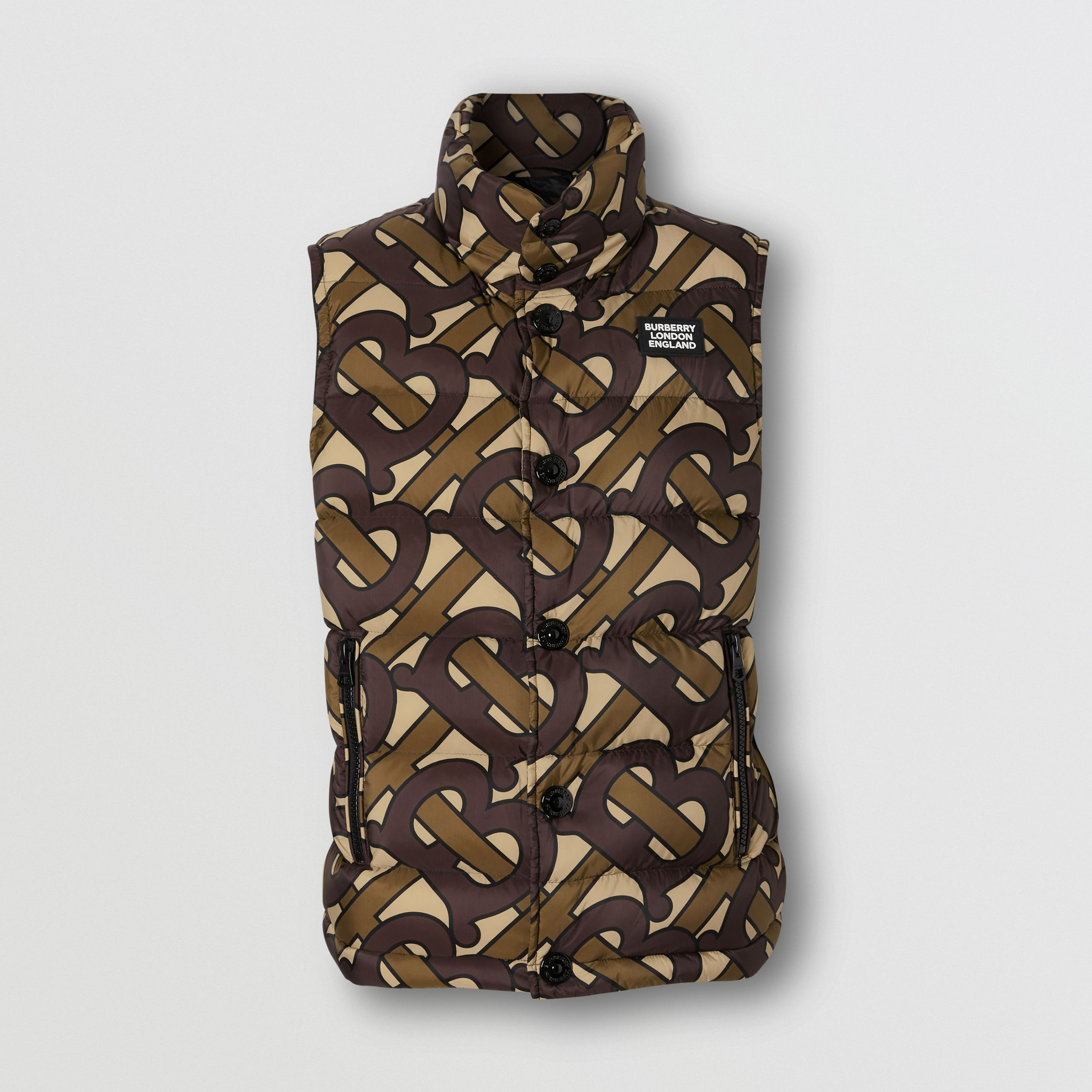 Monogram Print Puffer Gilet in Bridle Brown | Burberry Australia - 1