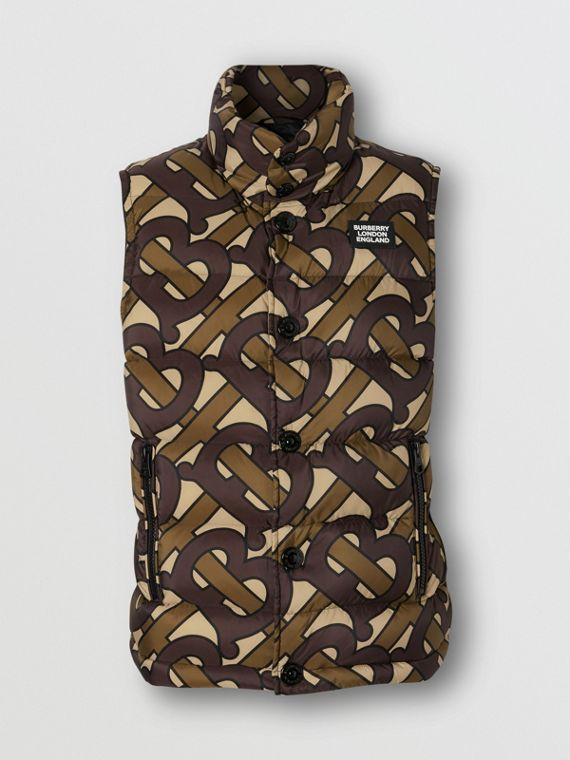 Monogram Print Oversized Puffer Gilet in Bridle Brown