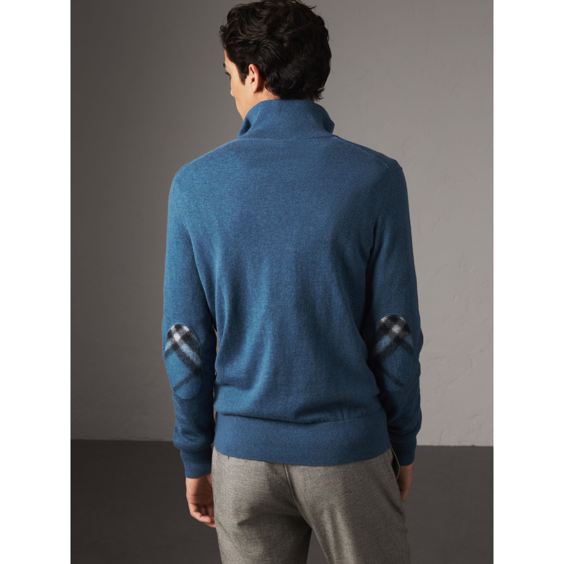 Zip-neck Cashmere Cotton Sweater in Steel Blue - Men | Burberry - gallery image 3