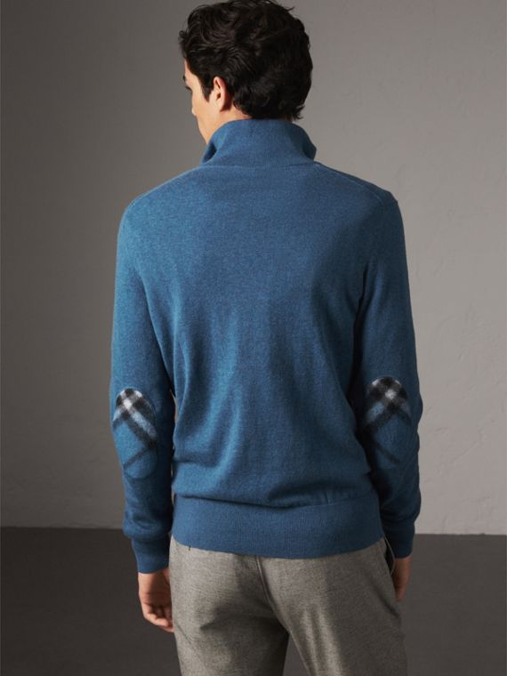 Zip-neck Cashmere Cotton Sweater in Steel Blue - Men | Burberry Australia - cell image 2