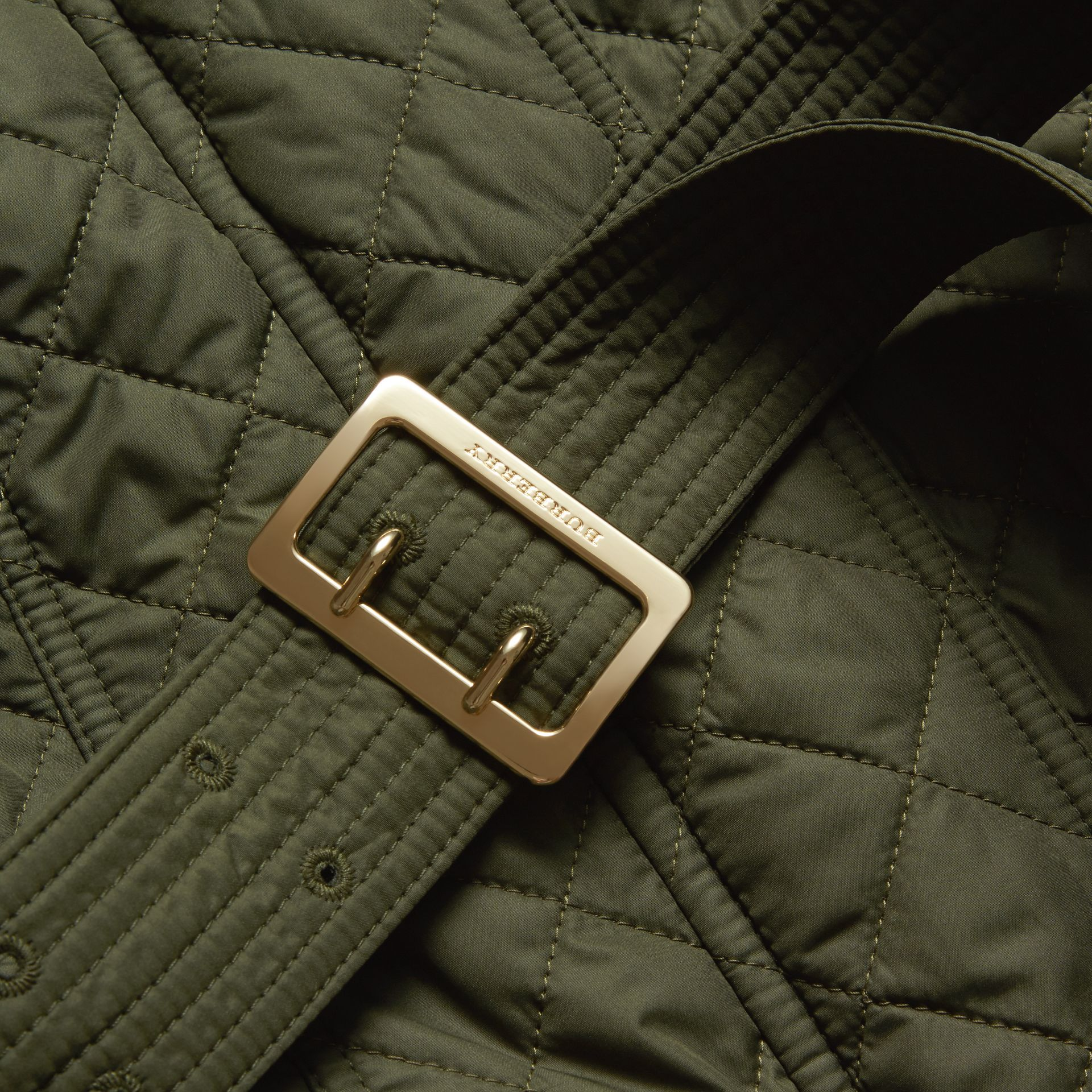 Buckle Detail Technical Field Jacket Military Green - gallery image 2