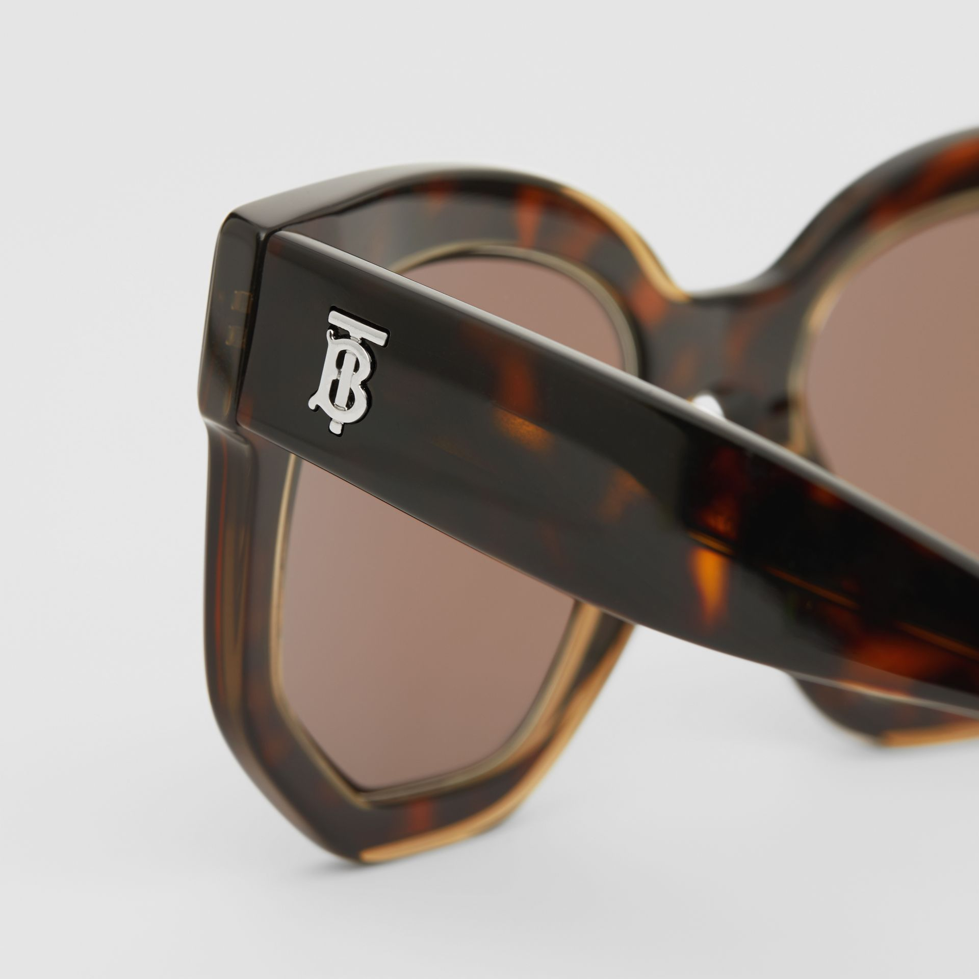 Geometric Frame Sunglasses in Tortoiseshell - Women | Burberry - gallery image 1