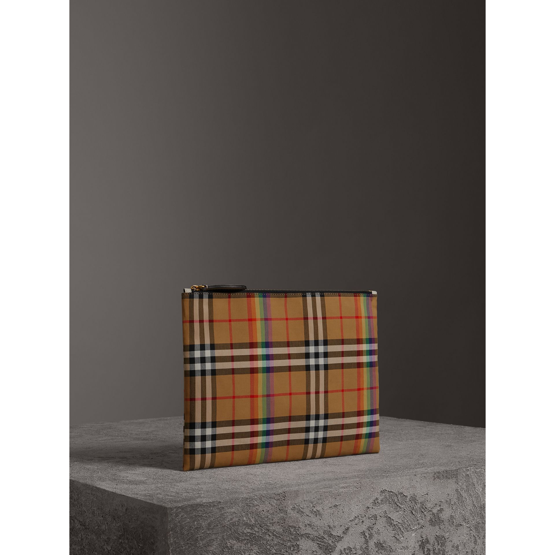 Medium Rainbow Vintage Check Pouch in Natural | Burberry United States - gallery image 8
