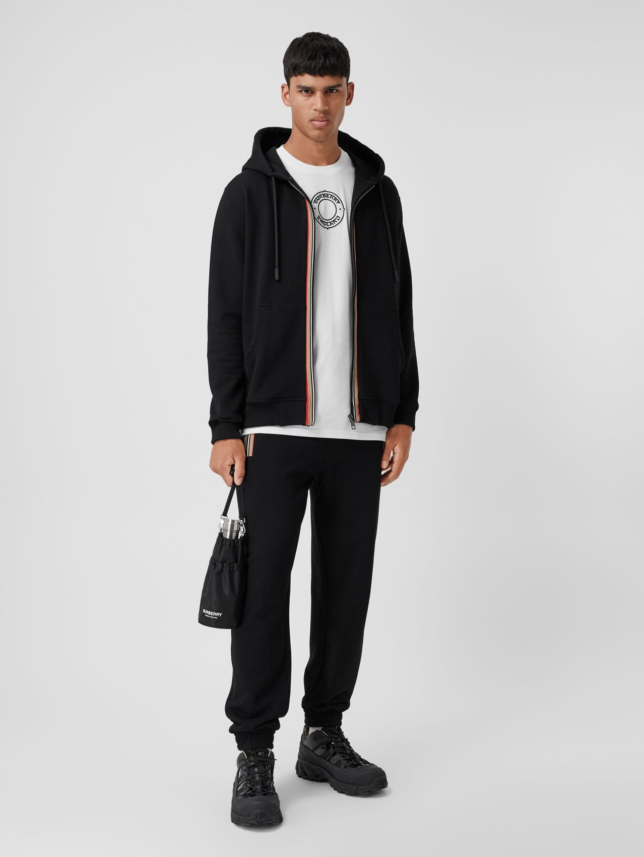 Icon Stripe Detail Cotton Jogging Pants in Black