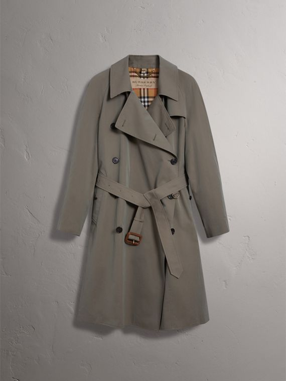Tropical Gabardine Asymmetric Trench Coat in Chalk Green - Women | Burberry - cell image 3