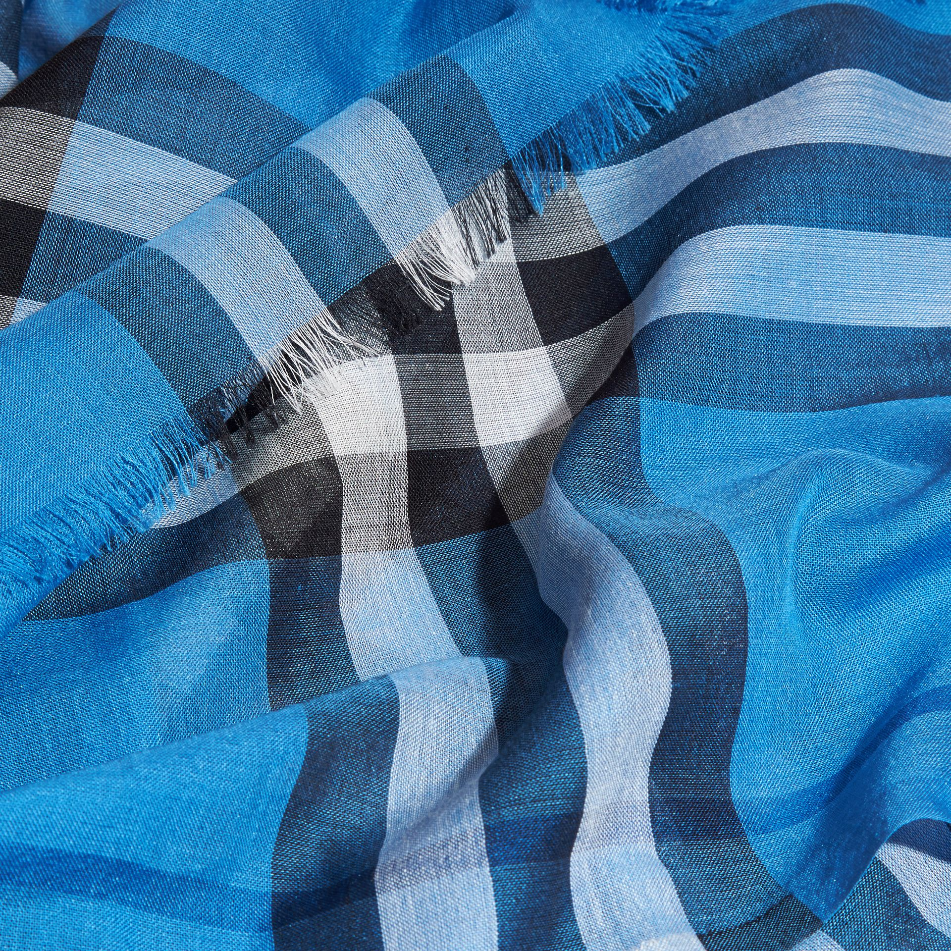 Lightweight Check Wool and Silk Scarf in Cornflower Blue - gallery image 2