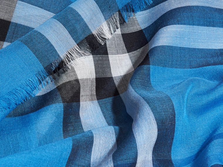 Lightweight Check Wool and Silk Scarf in Cornflower Blue - cell image 1