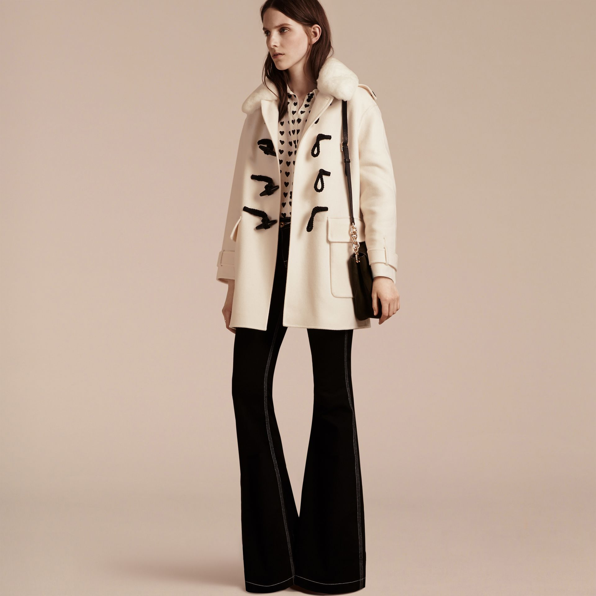 White Cashmere Duffle Coat with Detachable Fur Collar - gallery image 7
