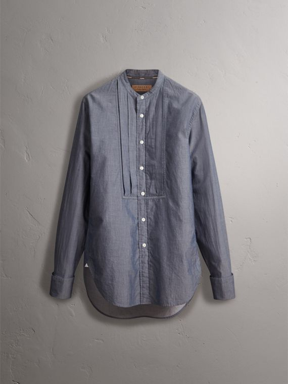 Unisex Grandad Collar Pleated Bib Cotton Shirt in Denim Blue - Women | Burberry - cell image 3