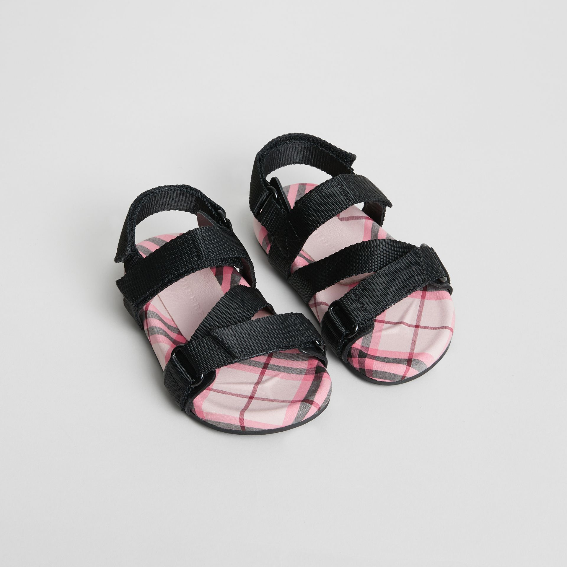Ripstop Strap Check Cotton Sandals in Bright Rose - Children | Burberry - gallery image 0