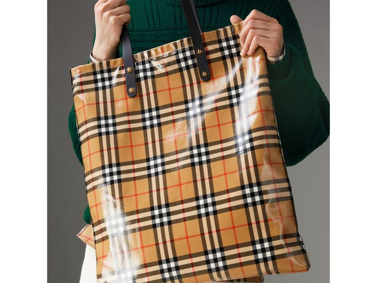 Large Coated Vintage Check Shopper in Black | Burberry United States - cell image 4